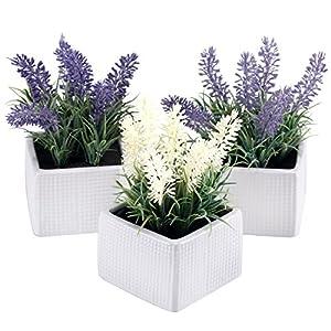 Conjunto de 3Assorted Color lavanda Artificial flores plantas en macetas de cerámica color blanco con textura