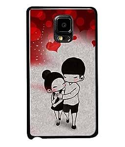 FUSON Designer Back Case Cover for Samsung Galaxy Note Edge :: Samsung Galaxy Note Edge N915Fy N915A N915T N915K/N915L/N915S N915G N915D (Couple Enjoying Beautiful Lovers Red Hearts)