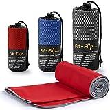 Fit-Flip Rot mit Grauen Rand, 1x 80x40cm | microfaser handtücher Set Camping microfaser handtücher Sauna microfaser handtücher del sol
