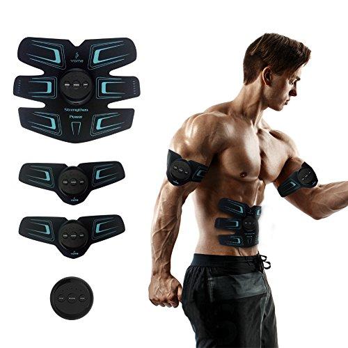 Preisvergleich Produktbild YOME Bauchmuskeltrainer Muskelstimulator Muskelstimulation EMS Trainingsgerät Muskeltraining Elektrostimulator Fitnessgerät zur Muskelaufbau und Fettverbrennung für Männer Frauen Geschenke