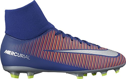 Kid's Nike Mercurial Victory VI (FG) Kinder Fußballschuhe Sockenschuhe DEEP ROYAL BLUE/CHROME-TOTAL CRIMSON