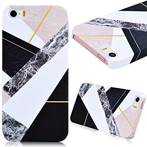 Coque iPhone SE, Housse iPhone 5S, Etui iPhone 5, GrandEver Marbre Case for Apple iPhone SE 5S 5 Housse Rigide Mélanger Couleur Stitching Motif Plastique Arrière Couverture Haute qualité Cas Dure Coquille Dessein Spécial Flexible Couverture Protection Anti Choc Fashion Design Hard Back Couvrir pour Apple iPhone