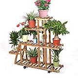 unho Blumenregal Blumentreppe aus Holz mit 5 Ebenen Pflanzentreppe für Innen-Balkon Wohzimmer Outdoor Garten Dekor Blumenständer mit Rädern 88 × 25 × 98 cm