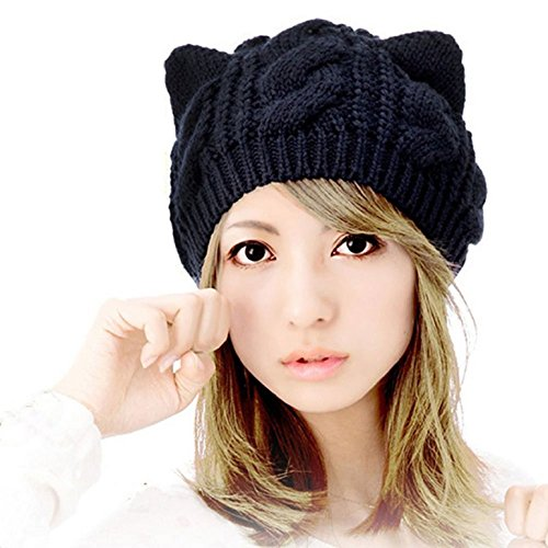 Heekpek® Gorro de Punto Gato Crochet Invierno Beanie Cozy Mujeres Sombrero Mujer (Negro)