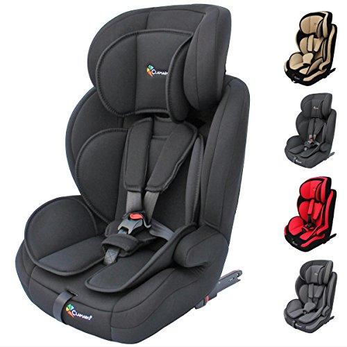 Clamaro \'Guardian Isofix Set\' Kinderautositz 9-36 kg mit ISOFIX inkl. Autositzschoner, Kopfstütze mitwachsend, Auto Kindersitz für Kinder von 1-12 Jahre, Gruppe 1/2/3, ECE R44/04, Schwarz