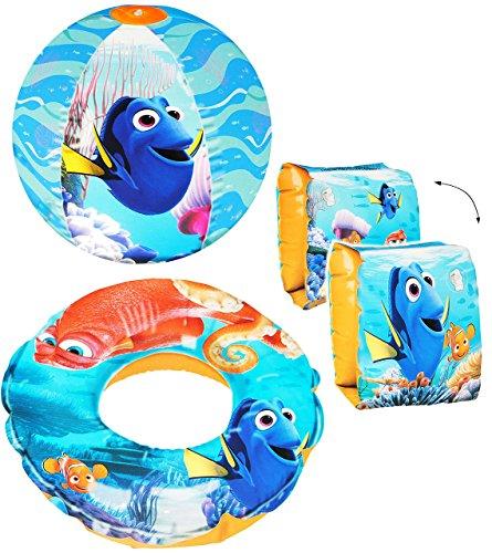 """4 tlg. Set _ Schwimmflügel & Schwimmring & Strandball - aufblasbar - """" Disney Findet Nemo - Fisch Dory """" - passend für 2 bis 6 Jahre - Schwimmärmel & Schwimmhilfe - Wasserball - für Mädchen & Jungen - aufblasbar - Kinder Luft / Strandspielzeug - Badespielzeug - Schwimmlernhilfe - Schwimmartikel / Wasserspielzeug - Kleinkinder - Fische Unterwasser blau - Kinderschwimmärmel - Schwimmhilfen"""