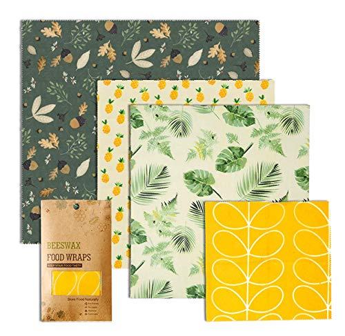 4er Pack wiederverwendbare Bienenwachs Lebensmittelverpackung, FDA zertifiziert, umweltfreundlich, plastikfrei, große Verpackung für Sandwichs, Snacks, Obst oder Käse