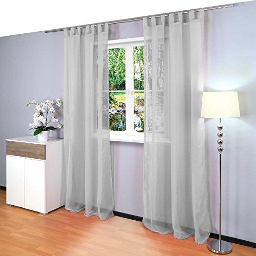 2er Set transparente einfarbige Gardine aus Voile, viele attraktive Farben, Maße: 245x140cm, Model Gräfenstayn Venezia (Farbe grau)