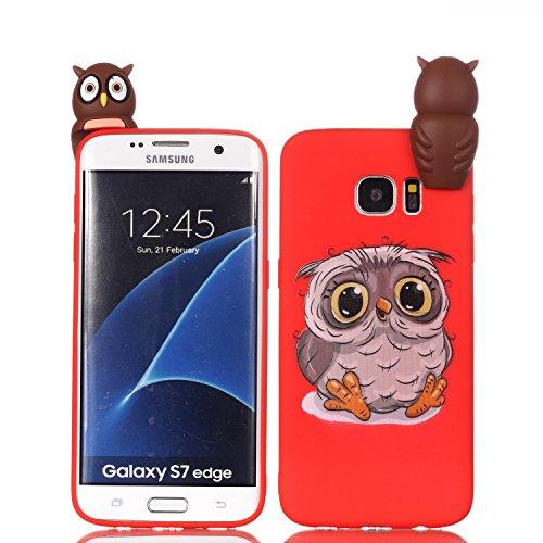 HUDDU Compatible for Samsung Galaxy S7 Edge Xmas Hülle Rot Transparente Weihnachten Schutzhülle TPU Silikon Back Cover Dünn Protective Case 3D Karikatur Christmas Samsung Galaxy S7 Edge Eule