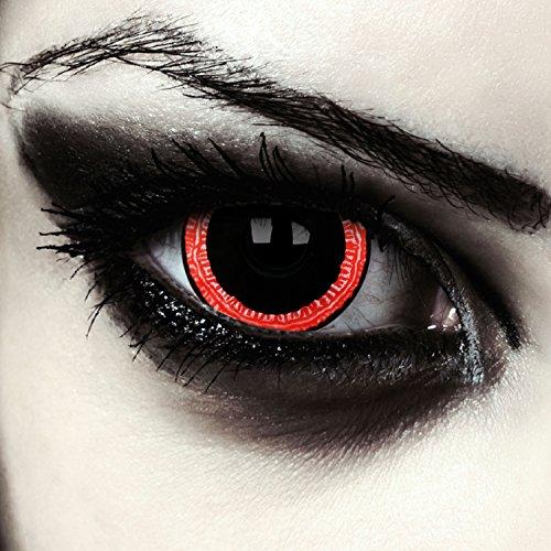 Schwarz rote farbige Mini Sclera Kontaktlinsen 17mm Vampir Halloween Kostüm Farblinsen + Gratis Kontaktlinsenbehälter (Contagious) (Rot Vampir Kostüm)