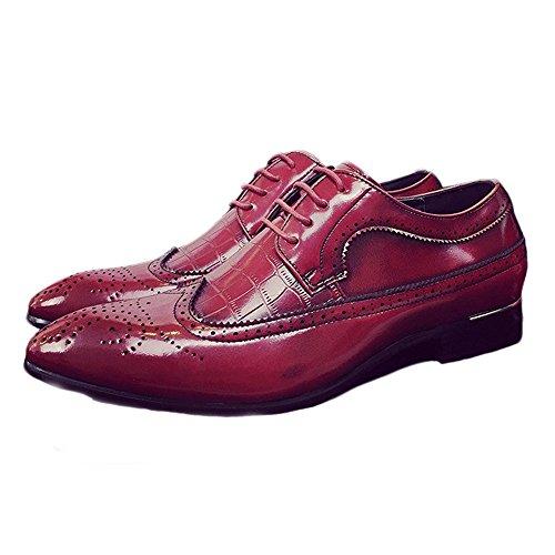 Sunny&Baby Hommes Brogue Chaussures Classique Creux Sculpture Splice PU en Cuir Wingtip Dentelle Jusqu'à Richelieus Doublés Respirant Résistant à l'abrasion (Color : Rouge, Taille : 43 EU)