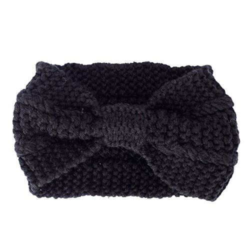Butterme Frau Lady Mädchen Fashion Crochet Bogen Turban Strick Gestricktes Stirnband headwrap Winter Ear wärmer Haar Bande Schwarz (Womens Winter Fashion)