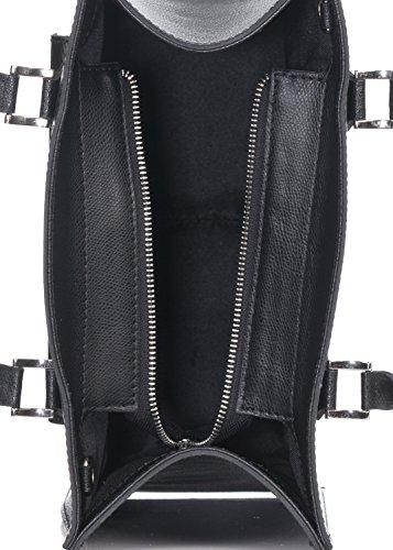 Laura Moretti - Ledertasche mit Fronttasche mit Schnappverschluss Schwarz