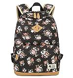 DNFC Canvas Schulrucksack Mädchen Rucksack Fashion Schulranzen Teenager Schultaschen Blumen Freizeitrucksack Kinderrucksack Mode Damen Daypack Backpack (Schwarz)