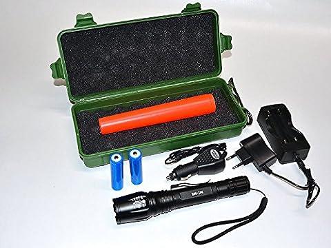 Taschenlampe XML T6 1000 Lumen! mit 2x 18650 Akku! LED Taschenlampe Militär Taktisch Reise Groß Wasserdicht xm-l t6 LED taschenlampe aufladbar - King Mungo -