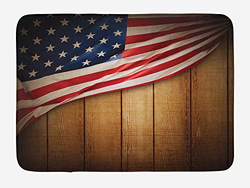 United Vertical Flag (American Flag Bath Mat, United States Design on a Vertical Retro Wooden Rustic Back Old Glory Country, Plush Bathroom Decor Mat with Non Slip Backing, 23.6 W X 15.7 W Inches, Blue Red)