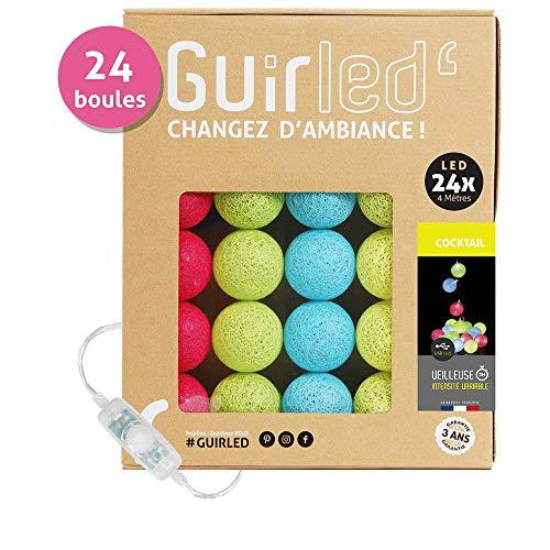 LED-Lichterkette Baumwollkugeln USB - Ladegerät Dual USB 2 A inklusive - 3 Intensitäten - 24 Kugeln - Cocktail Dual-kugel