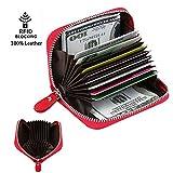Edmen Kreditkartenetui mit RFID Blocker Echtes Leder Geldbörse Kredit- und Visitenkartenetui 11 Fächer für Damen und Herren (rot)