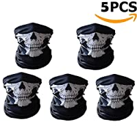 Ailiebhaus Seamless Face Tube Mask Skull Bandana Motorcycle Balaclava Mask, 5 Pieces