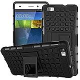 MoKo Huawei P8 lite Hülle [Kick Ständer Serie] Outdoor Dual Layer Armor Case Handy Schutzhülle Schale Bumper mit Standfunktion für Huawei P8 lite 5 Zoll Touch-Display, Schwarz