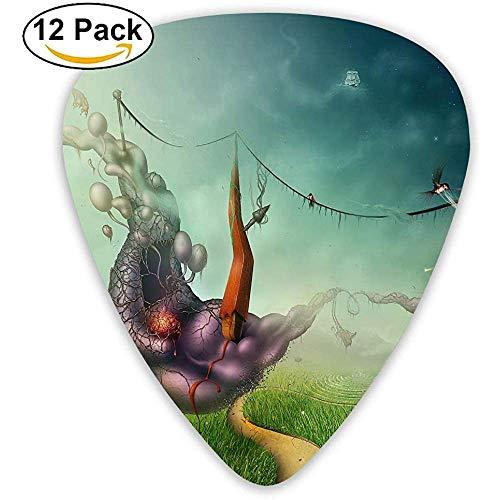 12er-Pack Fashion Classic E-Gitarren Plektren Surreal Art Picture Instrument Standard Bassgitarrist