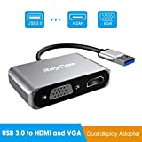 Excuty Adattatore da USB 3.0 a HDMI e VGA, Dual Display per Windows 7/8/10, Adattatore da 2 in 1 USB a HDMI Dual Output 1080P