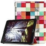 LingDan Schutzhülle für Acer Chromebook Tab 10 (D651N-K0PN) (9,7 Zoll) PU Leder Flip Cover Farbgitter Muster mit Tri-Fold Ständerfunktion und Magnetverschluss Funktion Hülle (Farbmalerei 05)