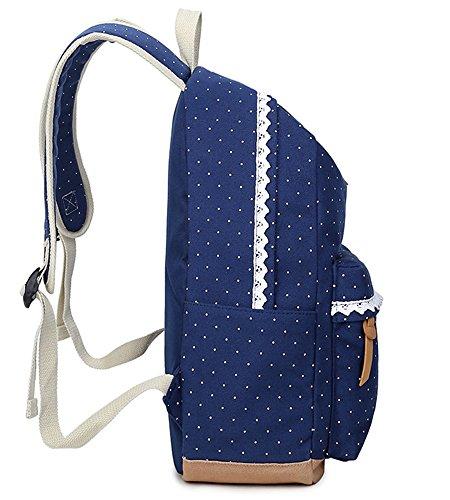 DoubleMay Fashion Mädchen Schulrucksack Damen Canvas Rucksack Teenager Baumwollstoff Schultasche Outdoor Freizeit Daypacks mit Schicker Lace QXT-6066 (Schwarz) - 3