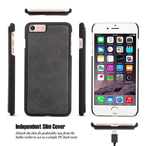 iPhone 7 Plus Fall, BELK Abnehmbare 2 in 1 Magnetic abnehmbare Reißverschluss Wallet [Groß Kapazität] Flip Case mit 14 Karten Slots und Abnehmbar dünne PC rückseitige Abdeckung für Apple iPhone 7 Plus Schwarz