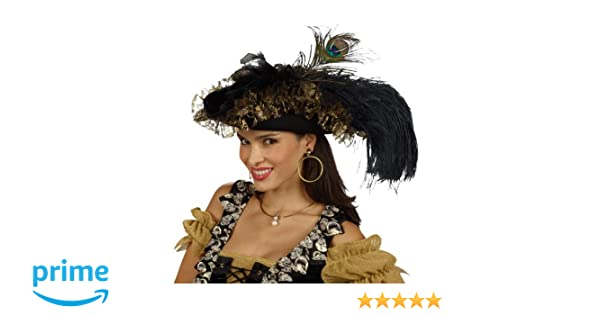 Lady s Tricorne - Pirate Hat With Feathers - Women s Costume Accessory   Amazon.co.uk  Toys   Games 1e99c48f7460