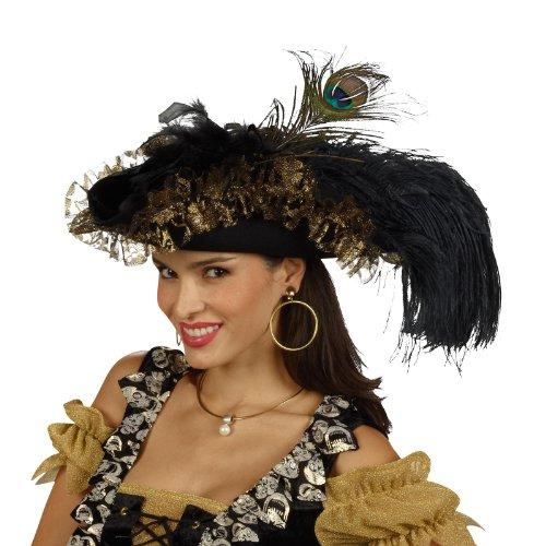Piratenhut Feder (Dreispitz mit Rüsche u Federn Piratenhut Wollfilz Damen Kostüm Zubehör)