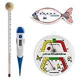 Kinder komplett Thermometerset mit Babyflaschenthermometer, Thermohygrometer, Fieberthermometer, Hüllen mit Gleitmittel und Badethermometer Fisch weiß bedruckt Set
