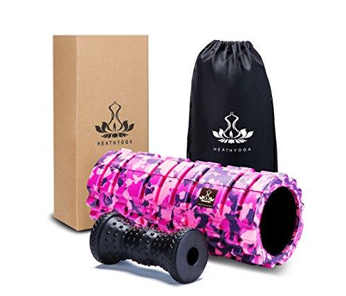 Heathyoga Schaumstoff Roller für Deep Tissue Muskel Massage – Trigger Point Therapie – myofaszialer Release – Muscle Roller für Fitness, Crossfit, Yoga & Pilates. (Trigger Point Self-massagegerät)