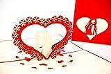 3D Klappkarte, handgearbeitete Grußkarte, Glückwunschkarte zur Hochzeit und Verlobung, inklusive Umschlag und Schutzfolie (Hochzeit - Blumenherz)