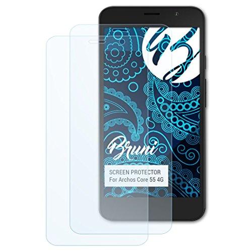Bruni Schutzfolie für Archos Core 55 4G Folie, glasklare Bildschirmschutzfolie (2X)