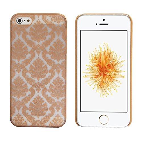 Ouneed® Luxux Geschnitzte Damast Weinlese Muster Matte Hard Case für Schutzhülle für iPhone SE 5 5S Case Cover (Weiß) Gold