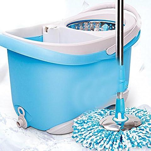 Mop en acier inoxydable Micro Fibre Mop Mop Rotary Dewatering Bleu seau taille 48 * (Acciaio Inossidabile Benna)