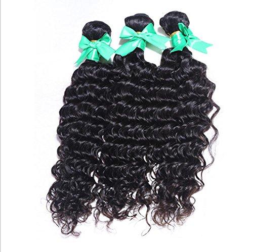 Remy Ein Licht (Meydlee Haarverlängerungen Hair Extension Indian Virgin Haar tiefe Welle färbbaren 3 Bundles Schuß/Erweiterung natürliche Haarfarbe 100g/pc(14 16 18inch) , 16 18 20)