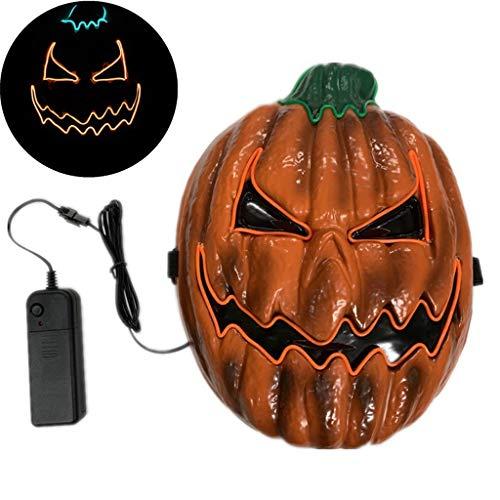Festival Kostüm Mieten - Halloween Maske Horror Kürbis Prom Requisiten Leuchtende LED Fasching Festival Party Cosplay Leuchten
