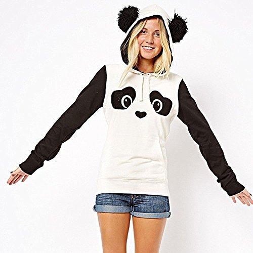 Felpa Donna Con Cappuccio Autunno Inverno Panda Modello Pullover Moda Giovane Maniche Lunghe Sweatshirt Hoodies Capispalla Elegante Cappotto Bello Felpe Tasche Bianco