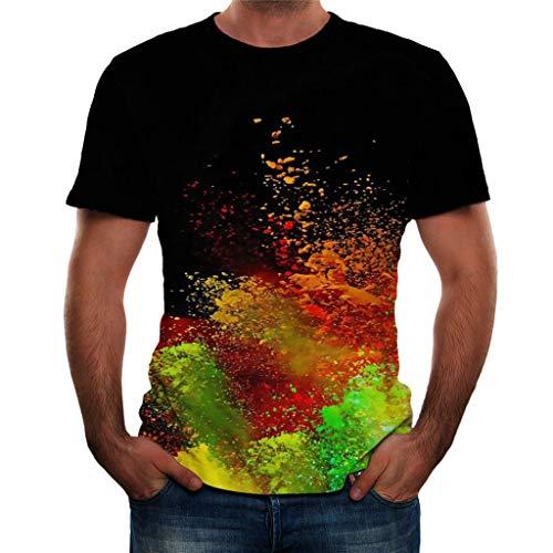Xmiral T-Shirt Herren 3D Gedruckte Kurzärmlig Rundkragen Tops Shirt für Männer Summer Einfach Atmungsaktiv Persönlichkeit Hemden Bluse Oberteile(Schwarz 4,S)
