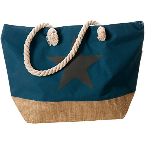 Bolso de mujer Bolso de playa bolsa de verano MC-TREND/® shopper de playa para piscina de playa con estrella o lentejuelas de anclaje