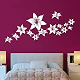 #8: Flower Wall Sticker for bedroom (122 cm X 54 cm height) white