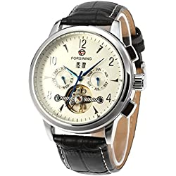 Forsining Men's Luxury Automatic Tourbillon Real Leather Strap Brand Wrist Watch FSG16577M3S2