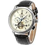 Forsining, orologio da uomo da polso, automatico, con tourbillon e cinturino di vera pelle, di lusso (FSG16577M3S2)