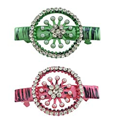 AAKSHI Pearl Princess, Diamond Daughter Set of 2 Hair Clips in Emerald green and Ruby red tones