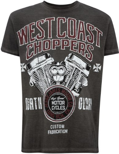 T-Shirt West Coast Choppers Death Glory Oil Dye Anthracite (S , Gris)