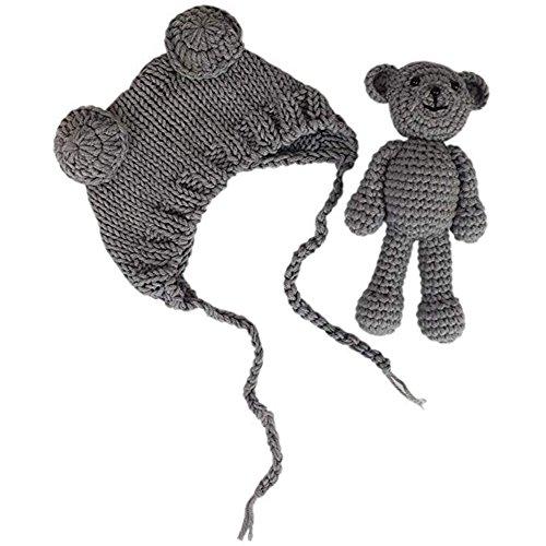 Kostüm Jungen Neugeborenen - Jastore Neugeborenen Fotoshooting Kostüm Junge Mädchen Bär Mützen Fotographie Prop Crochet Geschenk Baby Kleidung neuborn (Grau)