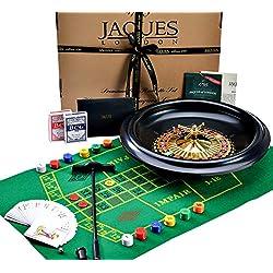 Énorme roulette de luxe de 40cm / 16 pouces - jeu de roulette, avec des cartes de Jacks noir, boules, jouant le tissu - ensemble complet - Jaques de Londres