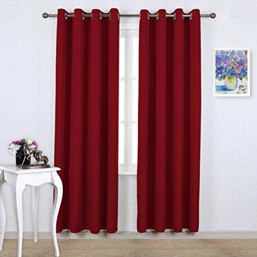 Pony dance tende rosse soggiorno da sole tende eleganti per camera da letto cucina, 132 x 240 cm (larghezza x lunghezza), 2 pannelli